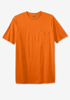 Shrink-Less™ Lightweight Longer-Length Crewneck Pocket T-Shirt,