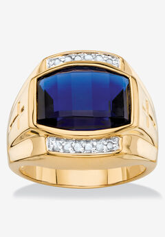 Men's 18K Yellow Gold-plated Sapphire and Diamond Accent Ring,
