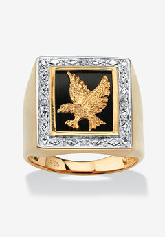 Men's 14K Gold over Silver Diamond Accent and Onyx Eagle Ring,