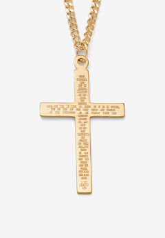 """Gold Filled Lord's Prayer Cross Pendant with 24"""" Chain,"""