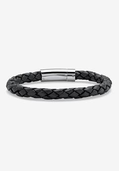 Stainless Steel and Twised Braid Leather Bracelet,