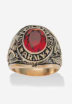 Gold-Plated Ruby United States Army Ring,