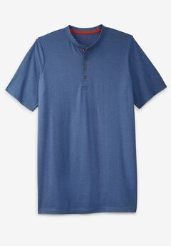 Boulder Creek® Heavyweight Longer-Length Short-Sleeve Henley Shirt,