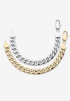 """2 Piece Gold Tone and Silvertone 9"""" Curb-Link Bracelet,"""