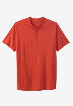 Shrink-Less™ Lightweight Henley Longer Length T-Shirt,