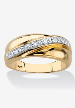 Men's Gold over Sterling Silver Diamond Wedding Band Ring (1/10 cttw),