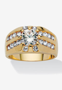 Yellow Gold-Plated Channel Cubic Zirconia Set Ring,