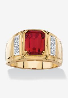 Men's 18K Gold-plated Genuine Diamond and Emerald Cut Garnet Ring,
