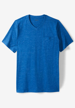 Shrink-Less™ Lightweight Longer-Length V-neck T-shirt,