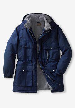 Boulder Creek Fleece-Lined Parka with Detachable Hood and 6 Pockets,