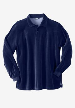Long-Sleeve Velour Polo,