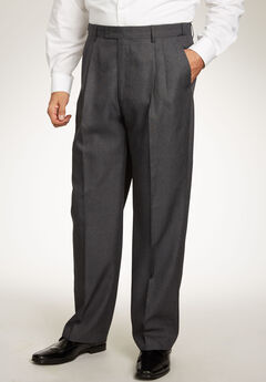 KS Signature Easy Movement® Pleat-Front Expandable Dress Pants, CHARCOAL PINDOT