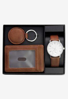 Contemporary Cognac Brown Accessories 3-Piece Gift Set,