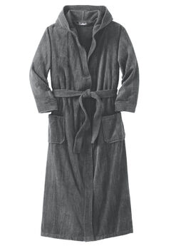 Terry Velour Hooded Maxi Robe,