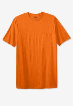 Shrink-Less™ Lightweight Longer-Length Crewneck Pocket T-Shirt,