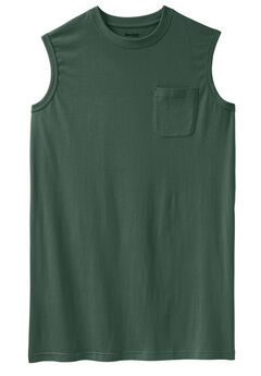 Shrink-Less™ Longer-Length Lightweight Muscle Pocket Tee,
