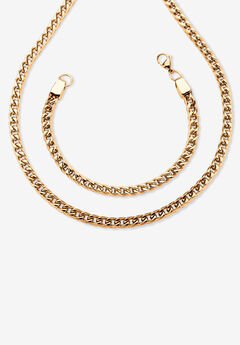"""Gold Ion-Plated Stainless Steel Curb-Link 24"""" Chain and 9"""" Bracelet Set,"""