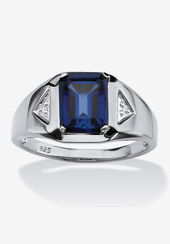 Platinum Over Sterling Silver Sapphire and Diamond Accent Ring,