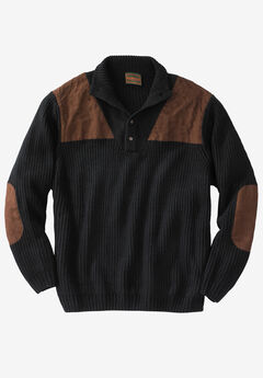 Boulder Creek™ Patch Sweater with Mock Neck, BLACK