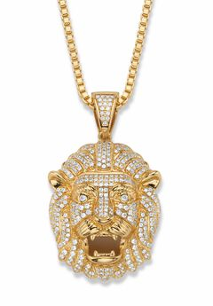 """Gold-Plated Lion Head Pendant with Cubic Zirconia accents with 22"""" Chain,"""