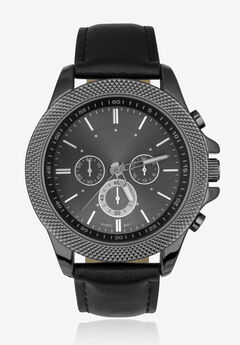 Gunmetal Watch with Black Faux Leather Band,