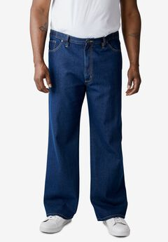 LIBERTY BLUES™ SIDE-ELASTIC WIDE LEG 5 POCKET JEANS,