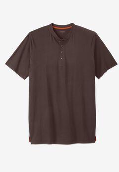 Boulder Creek® Heavyweight Longer-Length Short-Sleeve Henley Shirt, DARK BROWN