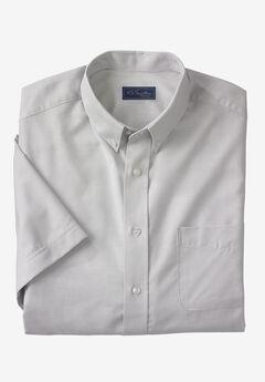 KS SIGNATURE WRINKLE-RESISTANT SHORT-SLEEVE OXFORD DRESS SHIRT, LIGHT GREY