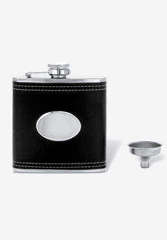 Stainless Steel and Black Leather Flask,