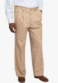 Relaxed Fit Wrinkle-Free Expandable Waist Pleated Pants,