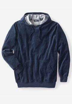 Velour Long-Sleeve Pullover Hoodie,