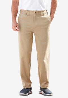 Plain Front Full Elastic Stretch Chino Pants,