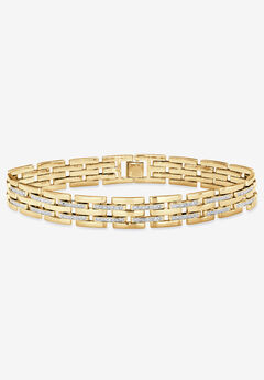 """9"""" Yellow Gold-Plated Link Bracelet with Diamond Accents,"""