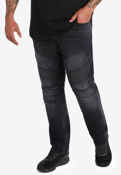 MVP Collections® Stretch Biker Jeans, BLACK