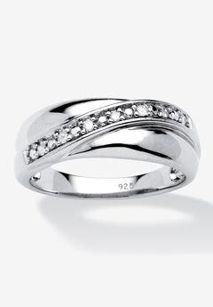 Men's Platinum over Sterling Silver Diamond Wedding Band Ring,