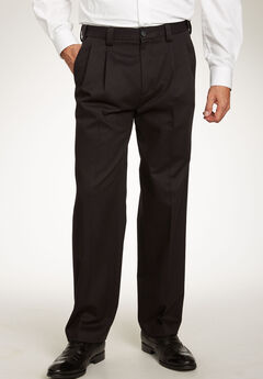 Classic Fit Wrinkle-Free Expandable Waist Pleat Front Pants,