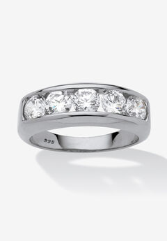 Men's Platinum over Silver Cubic Zirconia Wedding Band Ring,