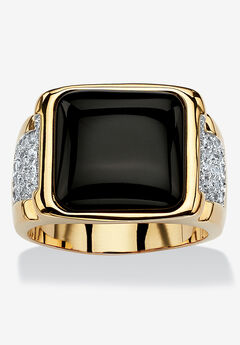 Men's 14K Yellow Gold-plated Natural Onyx and Round Cubic Zirconia Cabochon Ring,