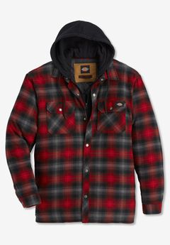 Dickies® Fleece Hooded Flannel Shirt Jacket,