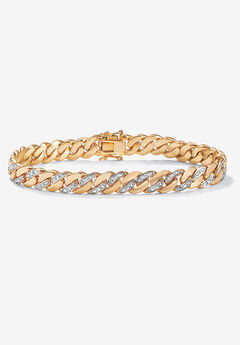"""9.5"""" Gold-Plated Curb-Link Bracelet with Diamond Accents,"""
