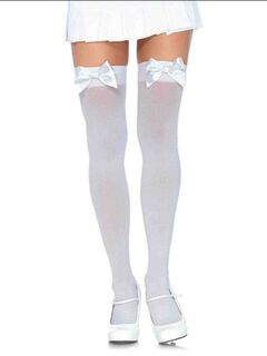 Opaque Satin Bow Thigh Highs,