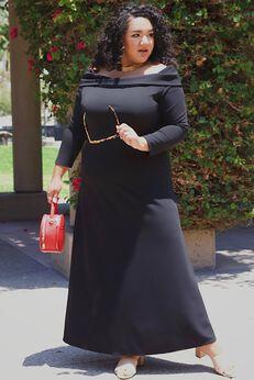 Fresh Take Slim Fit Off The Shoulder Plus Size Maxi Dress,