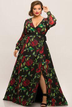 Lotus Floral Chiffon Plus Size Wrap Dress,