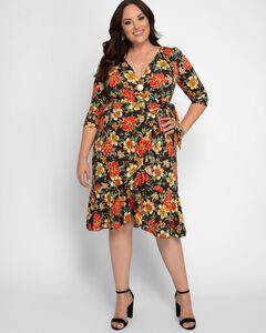 Flirty Flounce Wrap Dress,