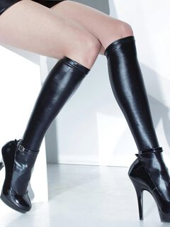 Wet Look Knee High Stockings,