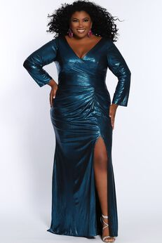 Wild At Heart Evening Plus Size Long Sleeve Formal Dress with Slit,