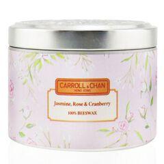 100% Beeswax Tin Candle - Jasmine Rose Cranberry, Jasmine Rose Cranberry