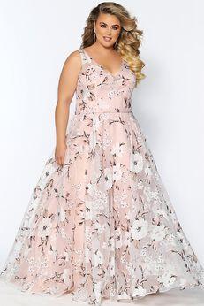 Romantic Affair Formal Plus Size Floral A-line Evening Gown,