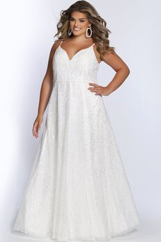 Hollywood Sparkle Plus Size Glitter Formal Dress,