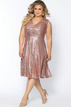 Pixie Dust Short Plus Size Sequin Party Dress,